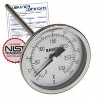 Baker T3006-550 Bimetal Thermometer 50 to 550F (0 to 260C) with NIST Traceable Certificate